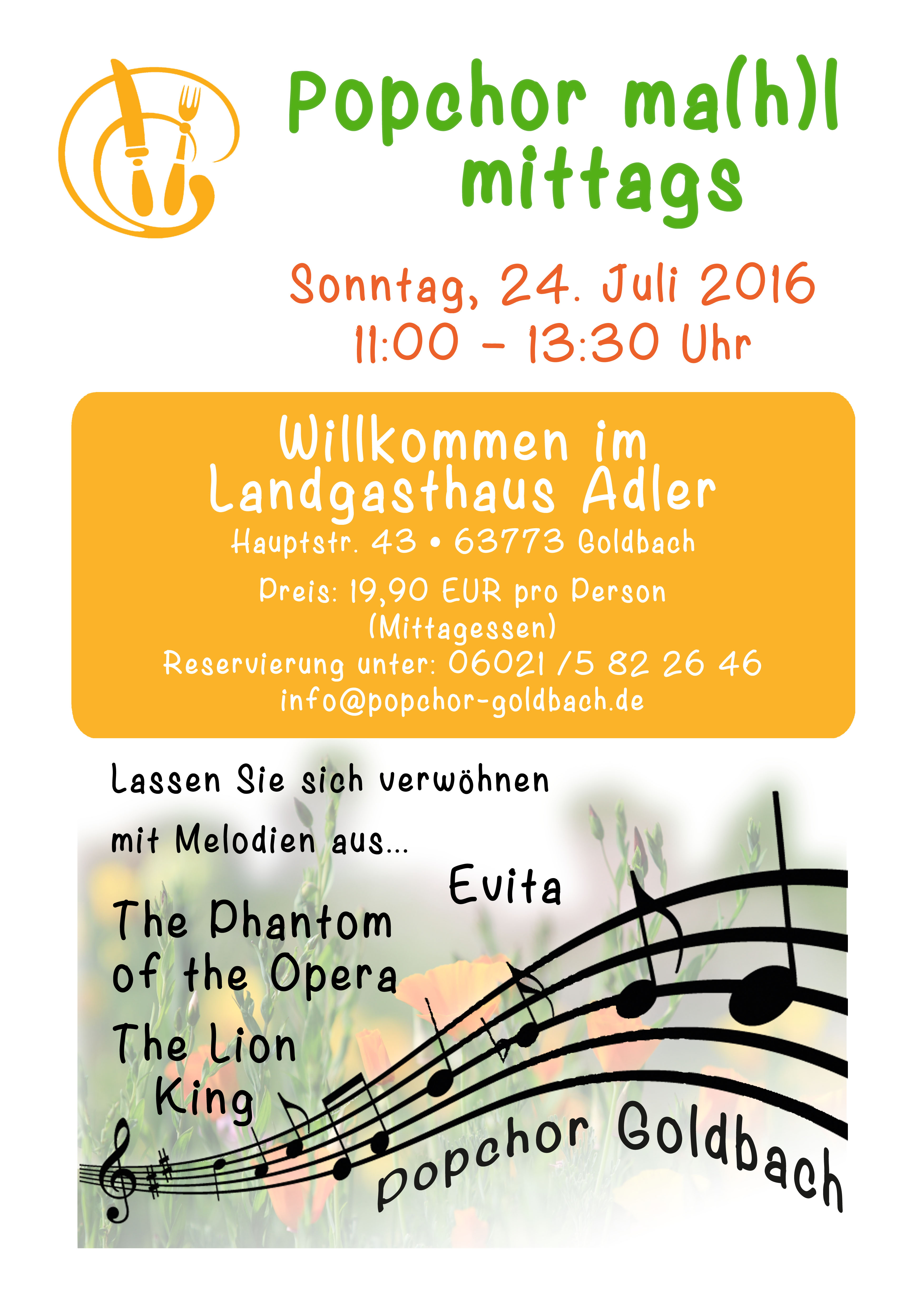 Plakat für Popchor ma(h)l mittags, weitere Infos unter info@popchor-goldbach.de